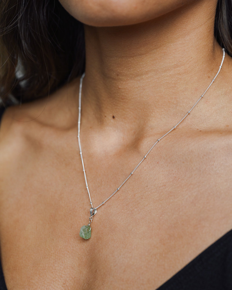 Silver Necklace Charm August Peridot
