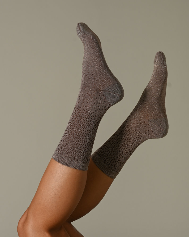 Tracey Socks Brown Glitter Dot
