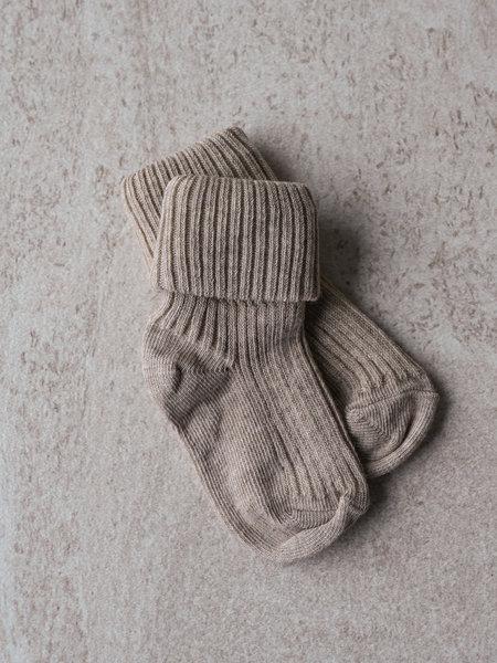 MP Denmark Cotton Rib Baby Socks Light Brown Melange