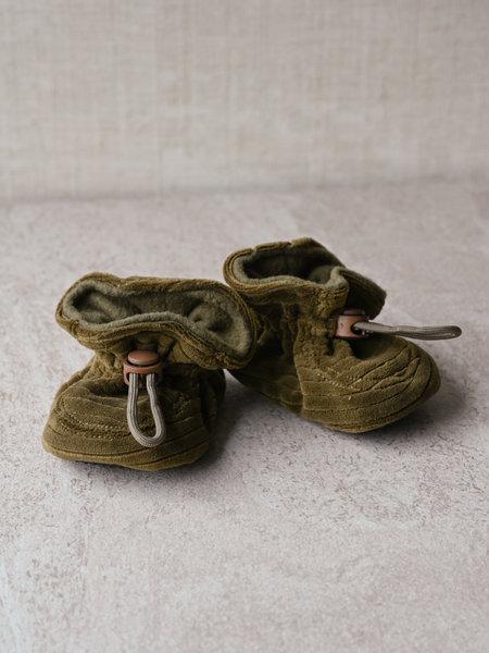 Melton Melton Baby Booties Military Green