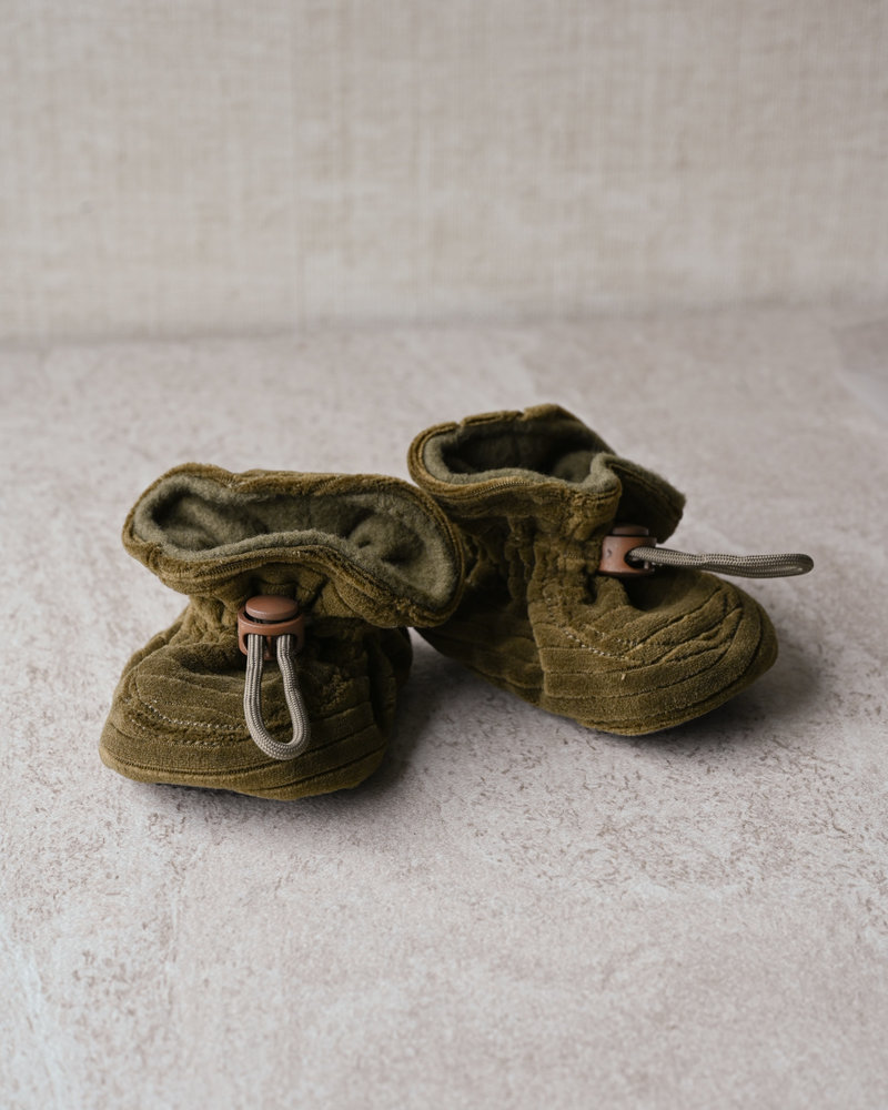 Melton Baby Booties Military Green