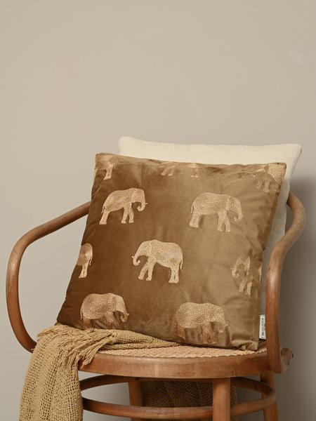 Cushion Velvet Brown Elephant