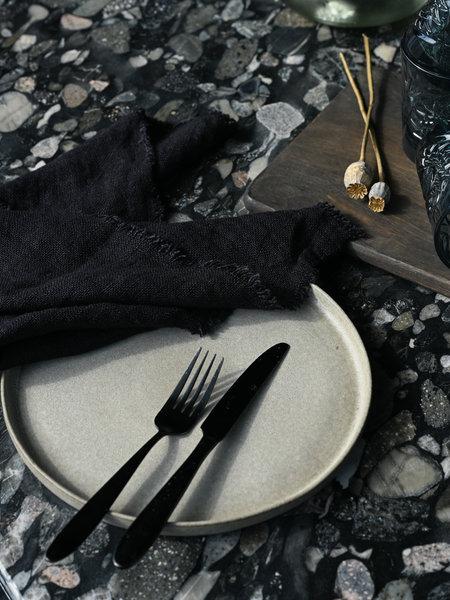 HKliving Linen Napkin Charcoal Fringes (SET OF 2)