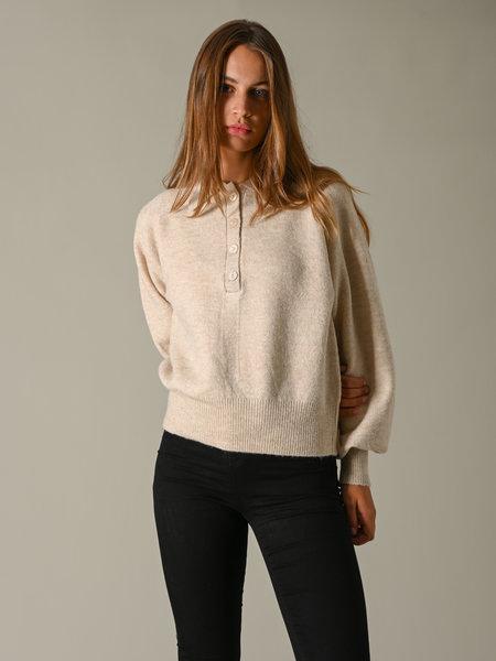 YAS Fino Polo Knit Pullover Sand