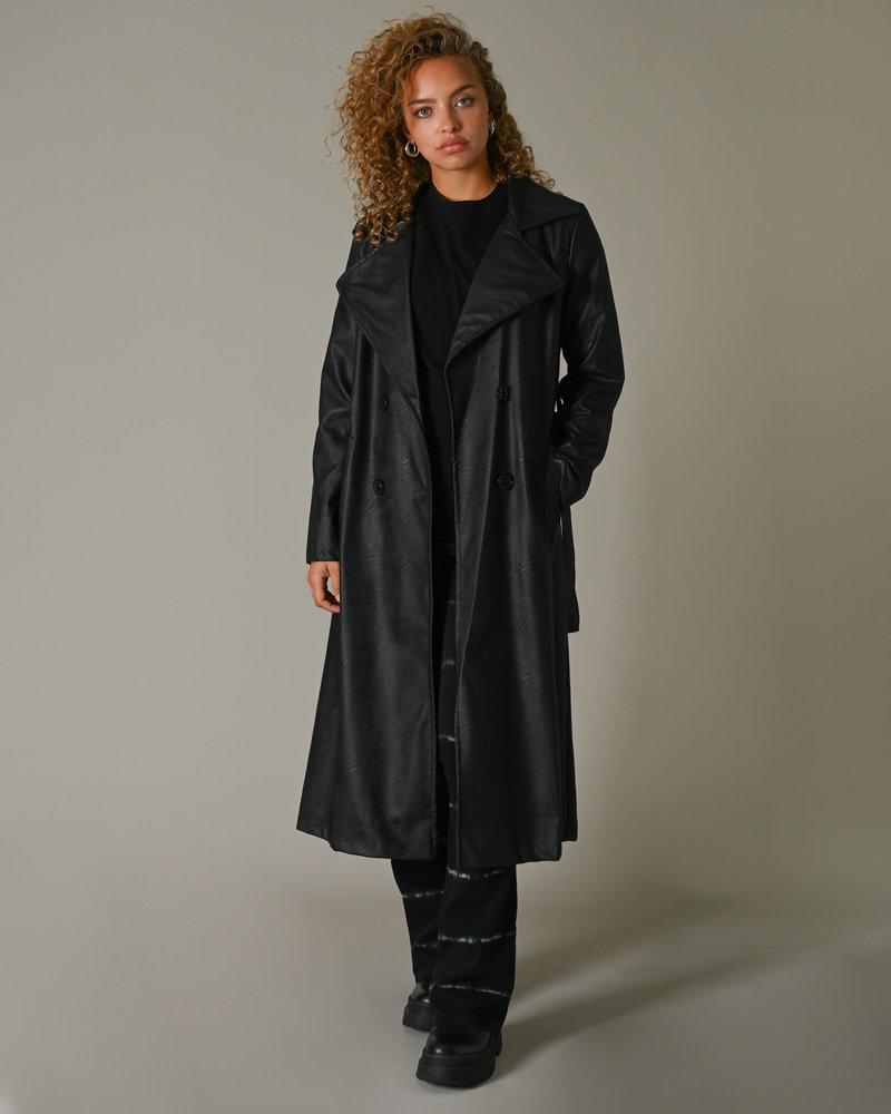 TILTIL Jun PU Black Trenchcoat