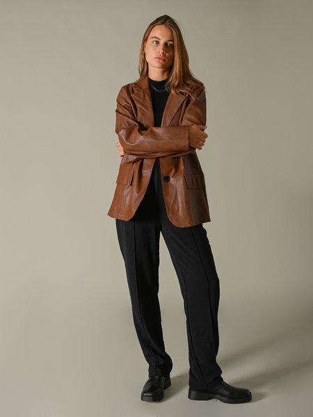 Ella Mode BV Pu Leather Blazer Brown