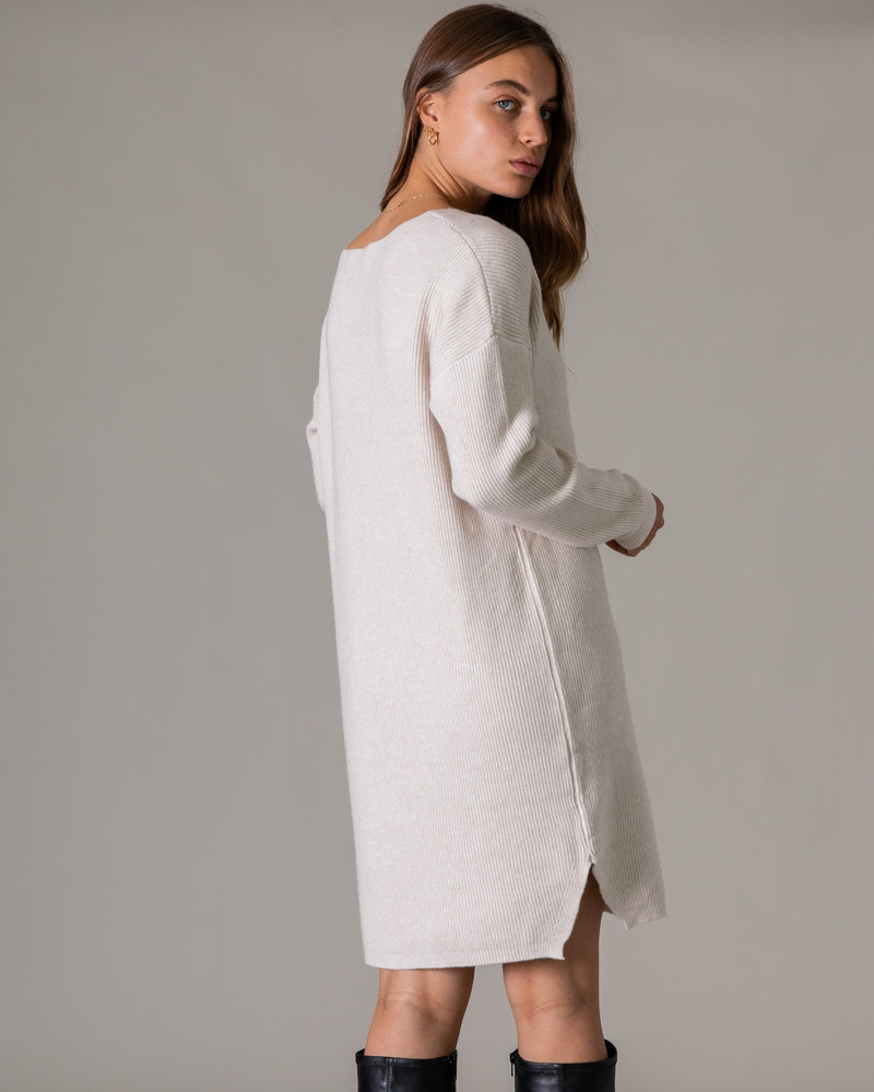 V-neck Knit Dress Beige