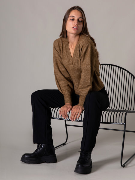 YAS Cali Knit Pullover Bronze Brown
