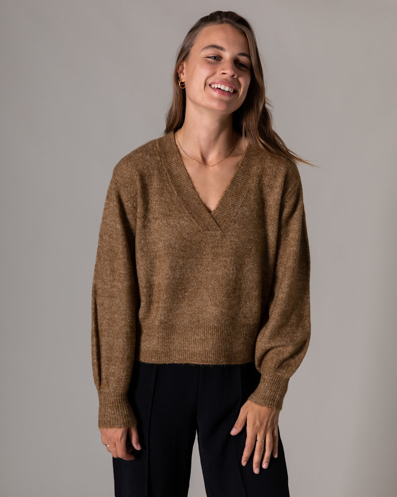 Cali Knit Pullover Bronze Brown