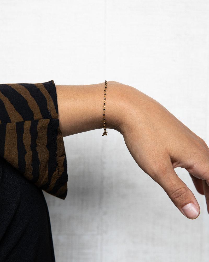 Gold Bracelet Black Dot Chain
