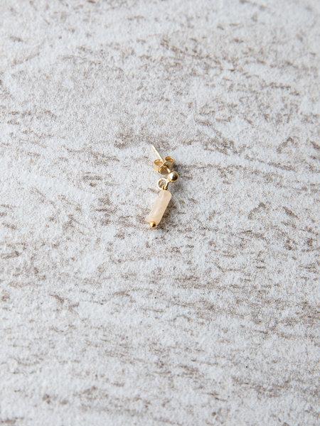 Ess Yello Creme Rectangle Stone Single Stud Gold