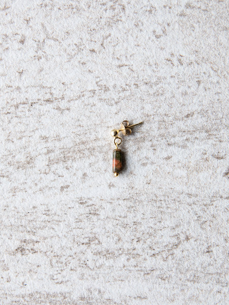Ess Yello Unakite Rectangle Stone Single Stud Gold