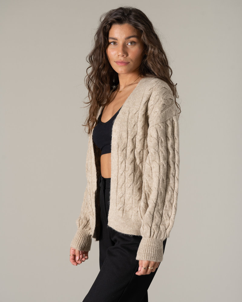 Cable Knitted Cardigan Beige