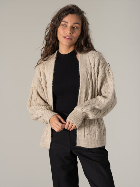 NAKD Cable Knitted Cardigan Beige