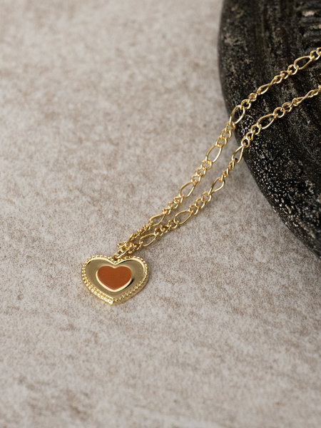 All The Luck In The World Charm Necklace Gold - Heart Dots Orange