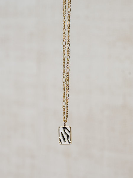 All The Luck In The World Charm Necklace Gold - Rectangle Zebra Black/White