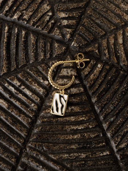 All The Luck In The World Charm Earring Gold - Rectangle Zebra black/white