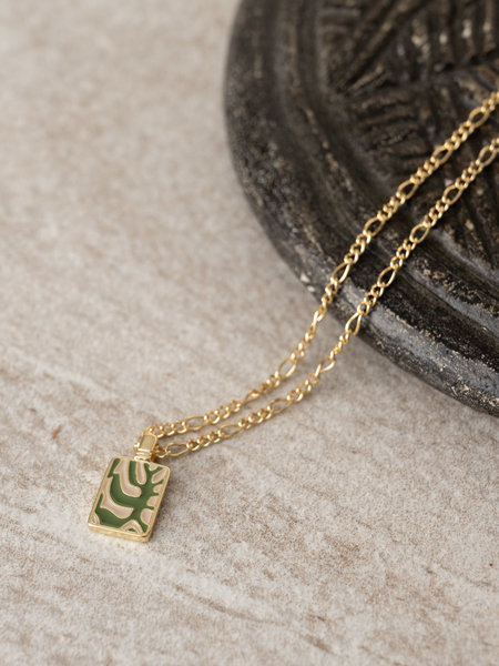 All The Luck In The World Charm Necklace Gold - Rectangle Plant Green/Beige