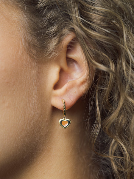 All The Luck In The World Charm Earring Gold - Heart Dots Orange
