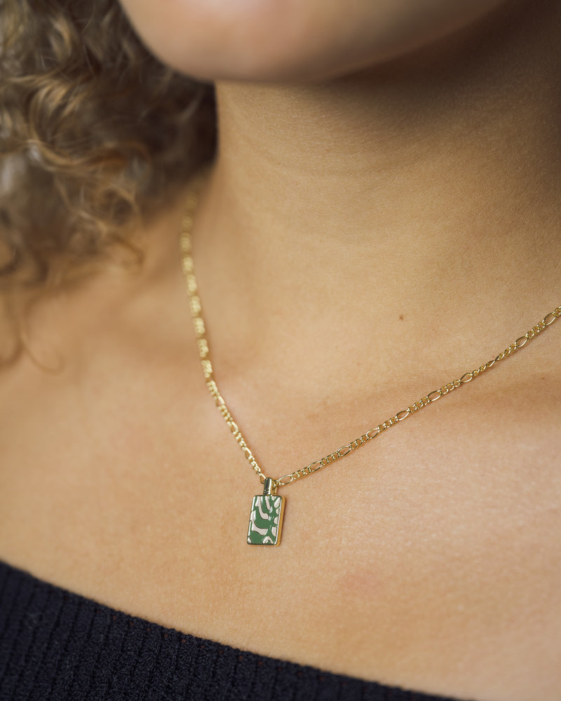 Charm Necklace Gold - Rectangle Plant Green/Beige