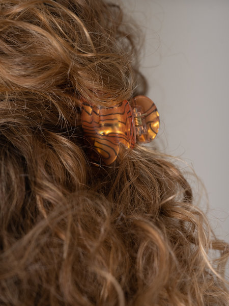 Claw Clip Brown Marble Print
