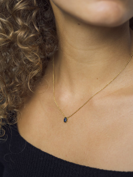 All The Luck In The World Necklace Gold - Amour Flower Dark Blue