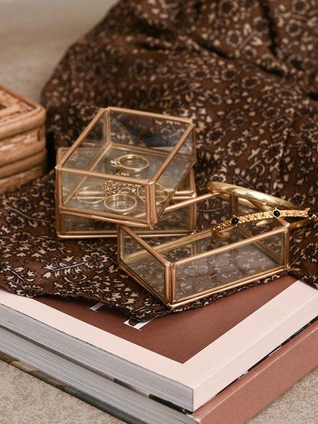 Madam Stoltz Rectangular Glass Tray Small Gold