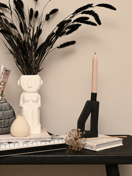 Candle Holder Kes Black Terracotta