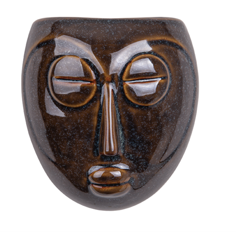 Ceramic Mask Wall Planter Brown + Plants