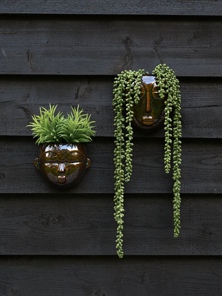Present Time Ceramic Mask Wall Planter Brown + Plants