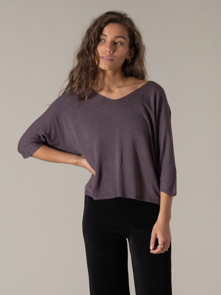 Things I Like Things I Love TIlTIL Amber Knitted Top Aubergine
