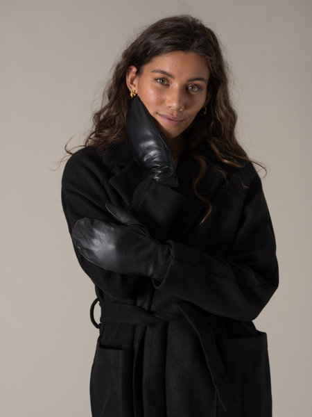 MSCH Clarina Leather Mittens Black