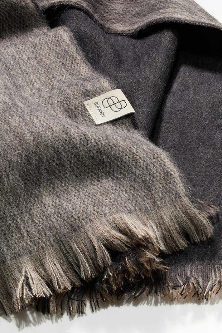 Alpaca Shawl Brushed Double Black & Sandstone