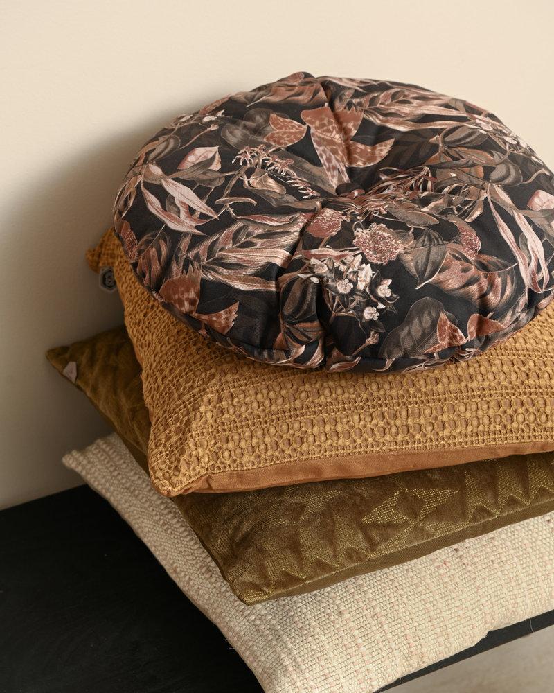 Cushion Vogue Round Velvet Bouquet Black