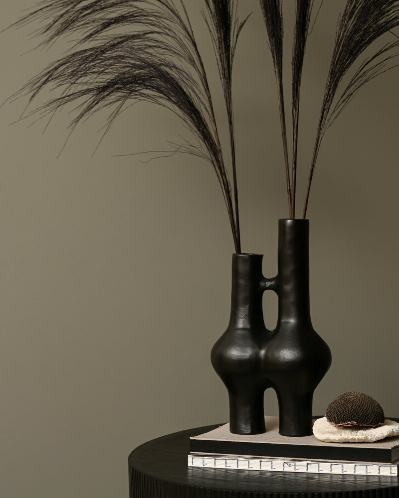 Double Vase Black Metal