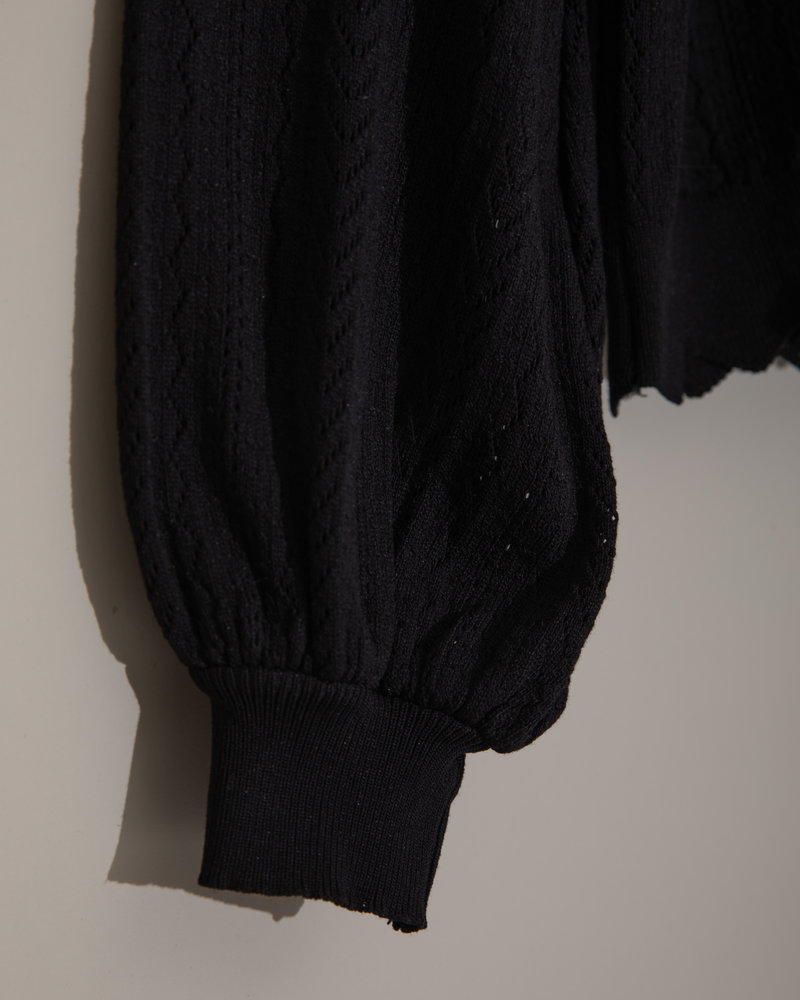 TILTIL Knitted See Through Sweater Black