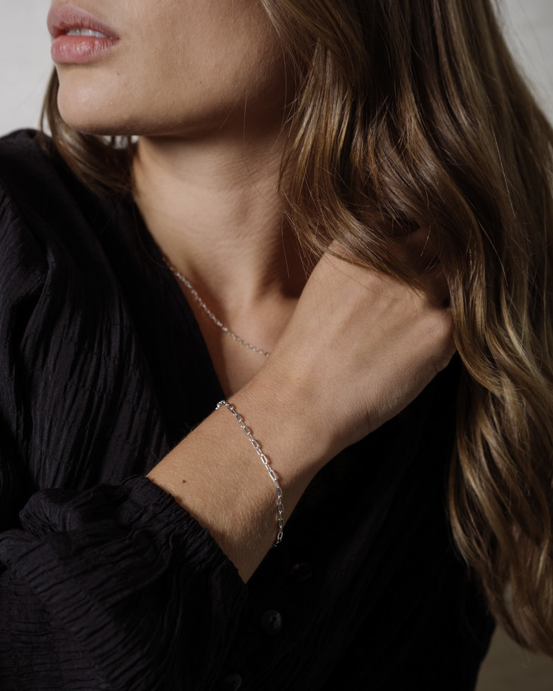 Cable Hammered Chain Bracelet