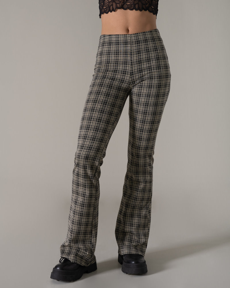 Checked Flared pants Black