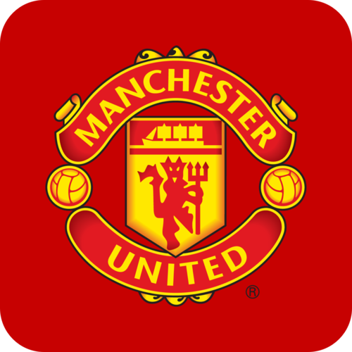 A large selection of football shirts from Manchester United