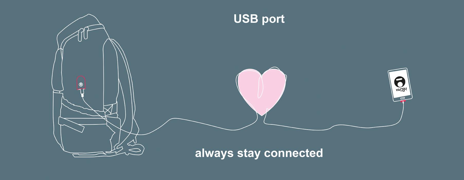 VARGU Rucksack mit USB-Anschluss