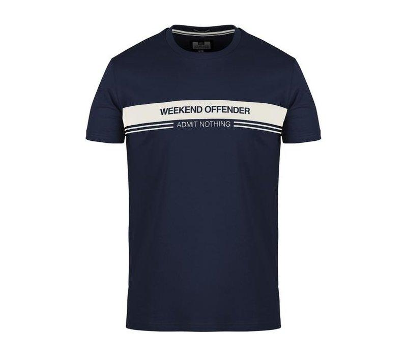 Weekend Offender W.O.A.N. chest stripe t-shirt Navy