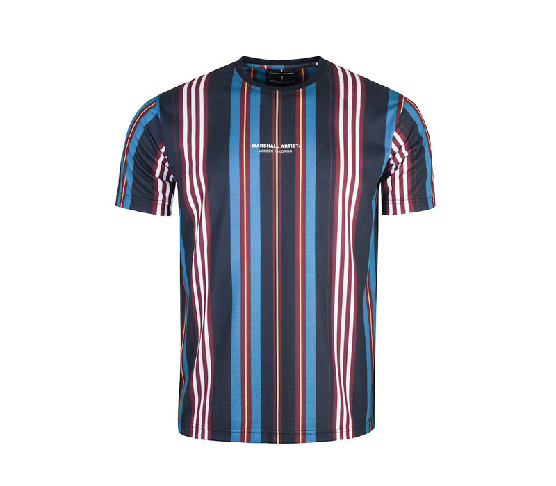 Marshall Artist vert stripe ss t-shirt Navy bordeaux