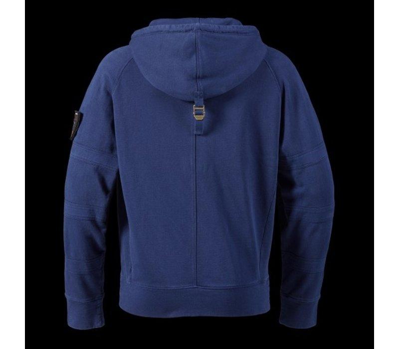 Boneville hooded zip through sweat Blue depths