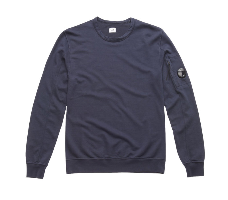 C.P. Company garment dyed light fleece lens crew sweatshirt Navy