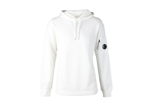 C.P. Company C.P. Company garment dyed light fleece lens hooded sweatshirt White