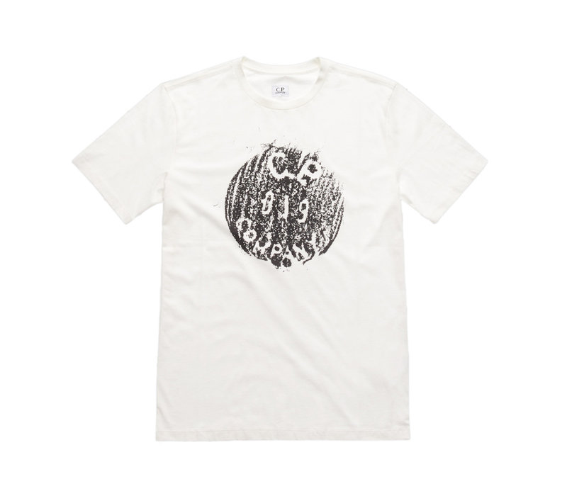 C.P. Company jersey 30/1 button print crew t-shirt White