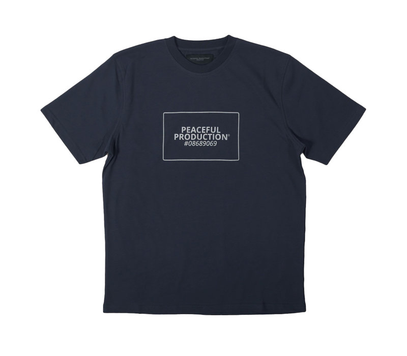 Peaceful Production box logo t-shirt Navy