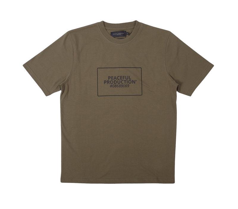 Peaceful Production box logo t-shirt Khaki