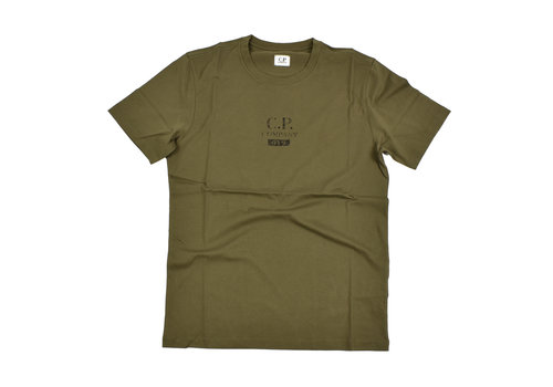 C.P. Company C.P. Company jersey 30/1 button print crew t-shirt Green