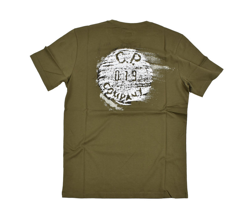 C.P. Company jersey 30/1 button print crew t-shirt Green